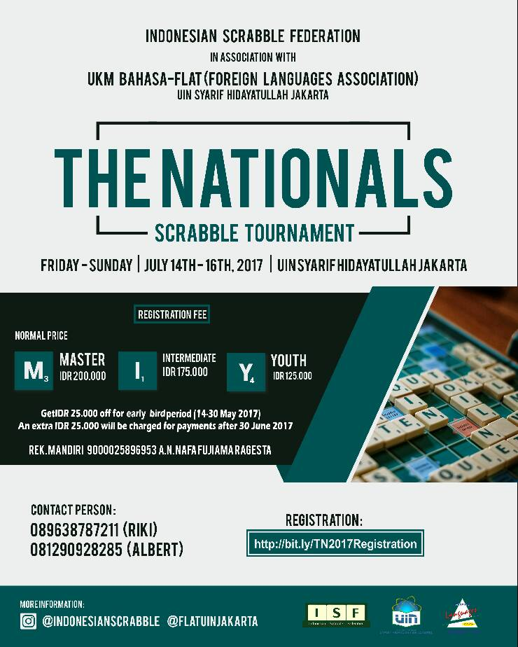 The Nationals 2017 | Tournaments | Indonesian Scrabble Federation